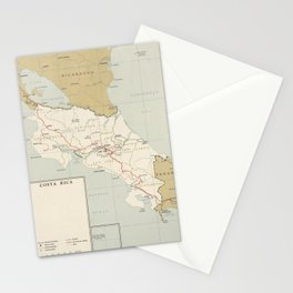 Vintage Map of Costa Rica (1961) Stationery Cards