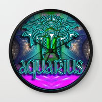 zodiac Wall Clocks featuring Aquarius Zodiac by CAP Artwork & Design