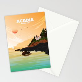 National Parks Poster: Acadia Stationery Cards