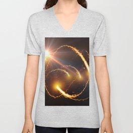 Flying Comets and light rays, digital art Unisex V-Neck