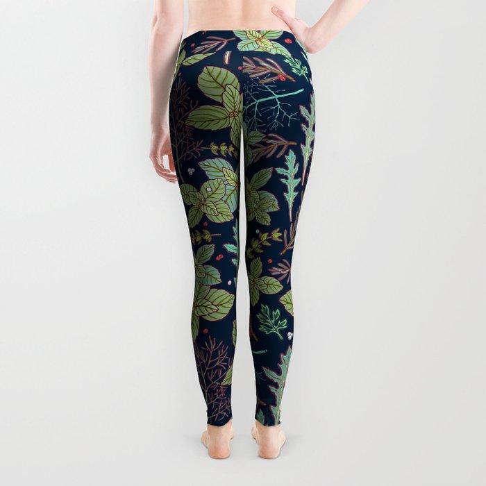 dark herbs pattern Leggings