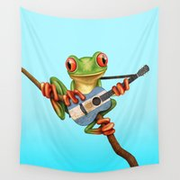 argentina Wall Tapestries featuring Tree Frog Playing Acoustic Guitar with Flag of Argentina by Jeff Bartels
