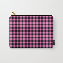 Classic Pink Country Cottage Summer Buffalo Plaid Carry-All Pouch