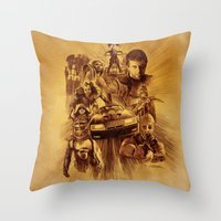 mad max Throw Pillows featuring Homage to Mad Max by Giorgio Finamore