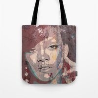 rihanna Tote Bags featuring Rihanna by Bit of Art