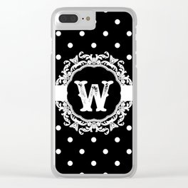 Black Monogram: Letter W Clear iPhone Case