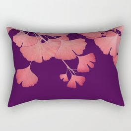Coral Ginkgo Biloba Leaves Rectangular Pillow