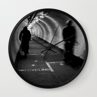 cycling Wall Clocks featuring No Cycling by Dawn OConnor