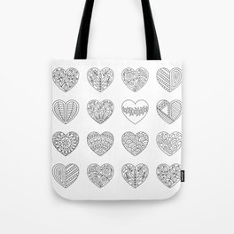 Tiny Hearts and Patterns, Adult Coloring Pattern Tote Bag