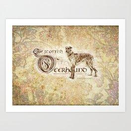 Scottish Deerhound Antique Brown Art Print