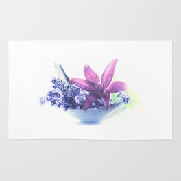 Summer flower pattern lilies and lavender Rug