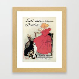 Vintage Art nouveau French milk advertising, cats, girl Framed Art Print