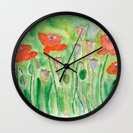 Red Poppy-1 (Papaver rhoeas) Wall Clock