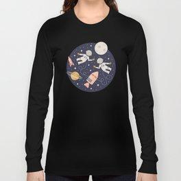 Lunar Spacewalk - Coral + Gold Long Sleeve T-shirt