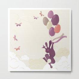 Flying Birthday Bunny (Purple) Metal Print