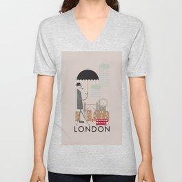 London - In the City - Retro Travel Poster Design Unisex V-Neck