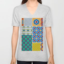 Moroccan pattern, Morocco. Patchwork mosaic with traditional folk geometric ornament. Tribal orienta Unisex V-Neck