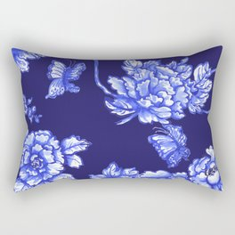 Chinoiserie Foral Navy Rectangular Pillow