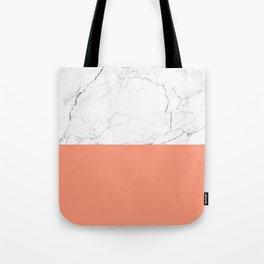 peach marble orange and white marble Tote Bag