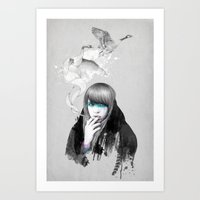 swan Art Prints featuring Swan Love by Ariana Perez