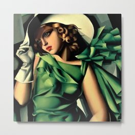 Girl in a Green Dress Art Deco Haute Couture portrait painting Tamara de Lempicka Art Print Metal Print