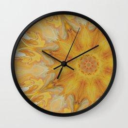 Fiery Sun - Offset Mandala Kaleidoscope Design Wall Clock