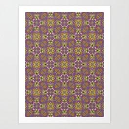 Brigid green and purple geo floral pattern Art Print
