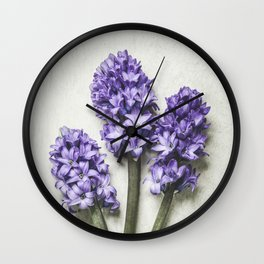 Three Lilac Hyacinth Wall Clock