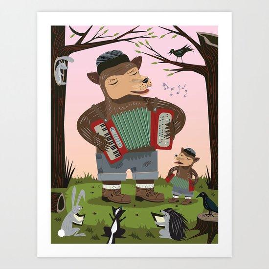 The Accordion Bears Art Print