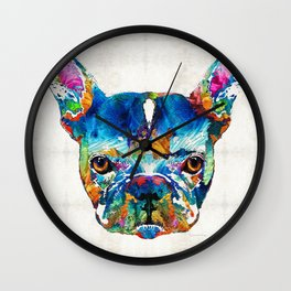 Colorful French Bulldog Dog Art By Sharon Cummings Wall Clock