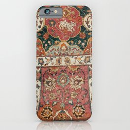 Persian Medallion Rug V // 16th Century Distressed Red Green Blue Flowery Colorful Ornate Pattern iPhone Case