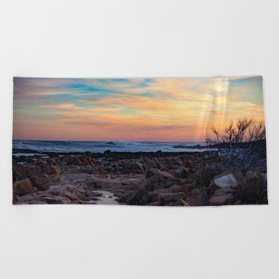 Winter Sunset at Bassrocks Beach Towel