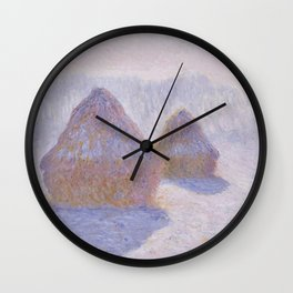 Haystacks, Effect of Snow and Sun by Claude Monet Wall Clock