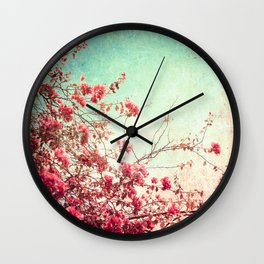 Pink Flowers on a Textured Blue Sky (Vintage Flower Photography) Wall Clock