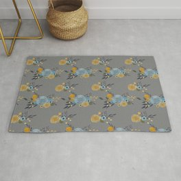 Roses and Billy Buttons - Gray Background - Floral Watercolor Pattern Rug