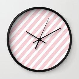 Pink Diagonal Stripes Wall Clock