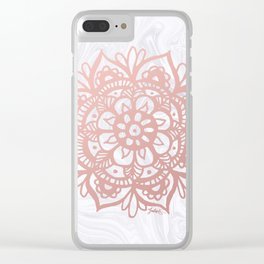 Rose Gold Mandalas on Marble Clear iPhone Case