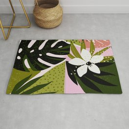 Tropical Flowers and Foliage 1940s Hollywood Bungalow Style Rug