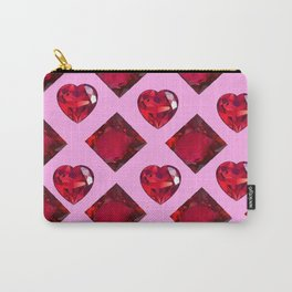 RUBY JEWELED  VALENTINE RUBY HEARTS  DESIGN Carry-All Pouch