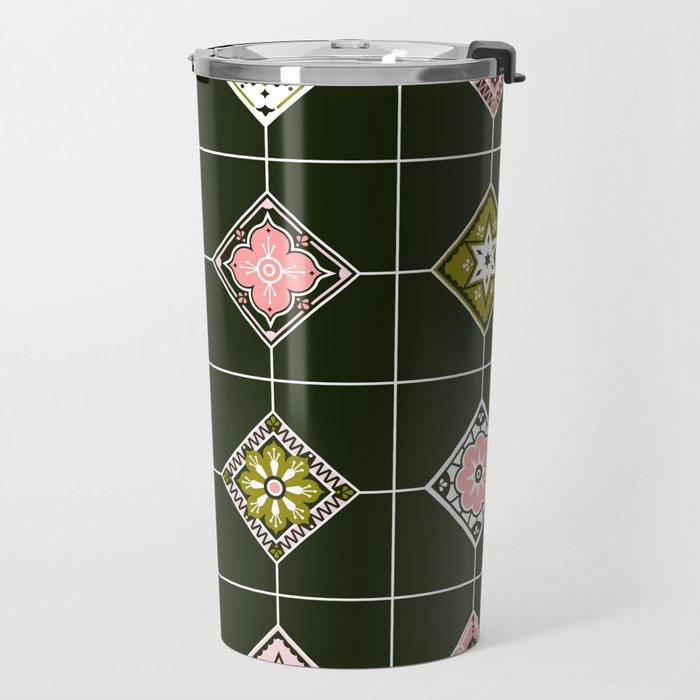 Talavera Mexican Tile – Blush & Sage Palette Travel Mug