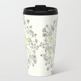 Circle Of Life Mandala With Hand Drawn Flowers Travel Mug