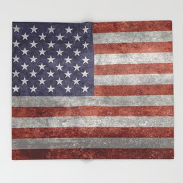 Flag of the United States of America in Retro Grunge Throw Blanket
