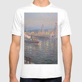 Paris, City of Lights Reflection on the River Seine; Alexander III Bridge landscape by Lionel Walden T-shirt