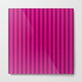Hot Pink Stripes Pattern Metal Print