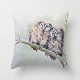 TWO CUTE OWLS Wildlife birds in the forest Watercolor painting Throw Pillow