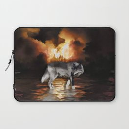 """Survivor"" Grey Wolf Fire Flames Laptop Sleeve"