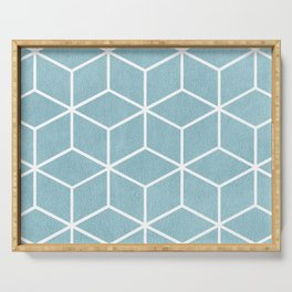 Light Blue and White - Geometric Textured Cube Design Serving Tray