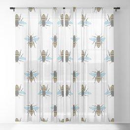 Watercolour Bee Pattern Sheer Curtain