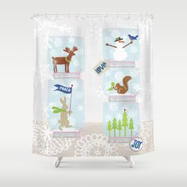 Woodland Snow Globes Shower Curtain