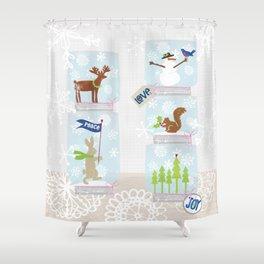 Woodland Snow Globes Shower Curtain